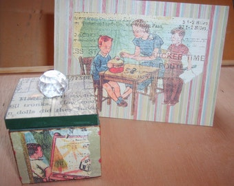 Decoupaged Wooden Teacher's Gift  Box and Note Card Set