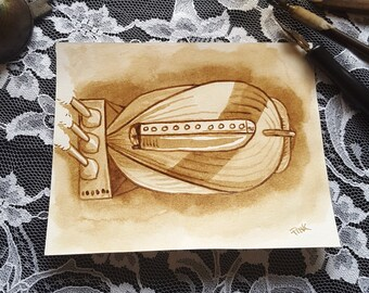 Airship No. 3 - Original Sepia Ink Art