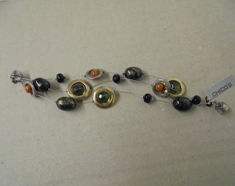 Chico Bracelet Beads Wire Magnetic Clasp Green Gold Silver