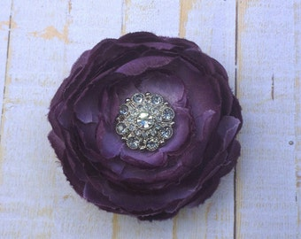 "Purple Flower Clip Eggplant Hair Flower 3.75"" Ranunculus Rhinestone Hair Clip Wedding Bridesmaid Flower Girl Purple Hair Clip Bridal Sash"