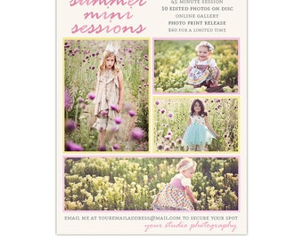 Summer Photography Marketing Board Template for Mini Sessions, Downloadable Photoshop Template for Photographers - INSTANT DOWNLOAD
