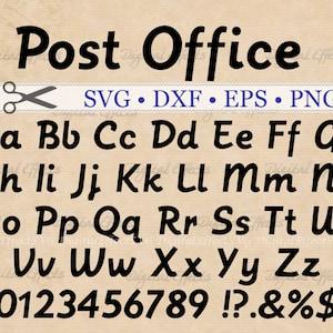 Post Office SVG, Italic Print Font,  Retro Script Monogram Svg, Dxf, Eps, Png;  Retro Letters SVG Font, Silhouette Files, Cricut Cut Files