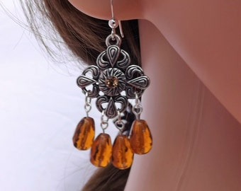 Aztec inspired dangle earrings with Czech glass drops and sterling silver ear wires
