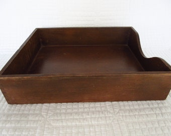 Vintage Brown Wooden Paper Tray In Box Desk Organizer - Letter Size Desk Accessory Mid Century
