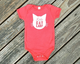 Little Cat Lady Organic Cotton Romper in Coral Pomegranate with White print - Baby Shower Gift, Cat Baby, Infant, Cat Lover, Cat People
