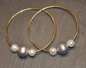 Gold Hoops with Interchangeable Pearls, Simple, Fun, Elegant and Bold