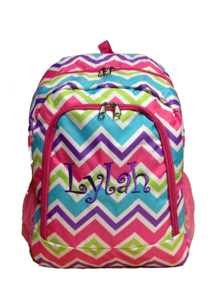 SALE Personalized Multi Color Chevron Backpack Girls Booksack