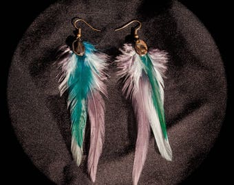 Feather turquoise, white, grey and Pearly Rooster feathers