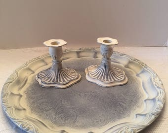 Painted Serving Tray and Candleholders ~ Whitewashed Finish ~ Two Candleholders ~ Shabby Chic ~ Wedding Decor ~ Vintage