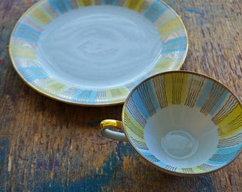 Antique Bavaria China Tea Cup and Dessert Plate - Set or Single - Sunburst Sun Rays Striped Pattern in Pastel Yellow Blue and Gold