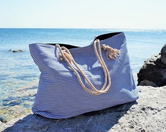 XL Canvas Beach Bag / Blue Navy Stripes / Rope Cord Closure / 100 Cotton / Big Tote  / Vacation / Summer Large Beach Bag