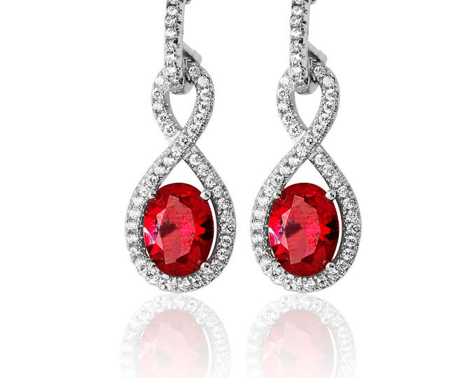 Ruby INFINITY Shape CZ Drops  Sterling Silver 925  Fancy Earring Rhodium Plated- Ideal Gift For Birthday Her Mom