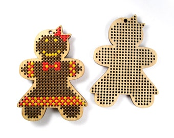 Cross stitch blank, Gingerbread girl, Gingerbread girl pattern, Cross Stitch Pendant, Plywood Blank, Cross Stitch, Laser Cut, 1 Piece