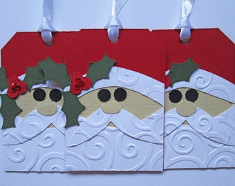 Santa Christmas Gift Tags - Christmas Tags - Holiday Gift Tags - Christmas Gifts - Christmas Wrapping - Christmas Gift Wrap - Set of 5