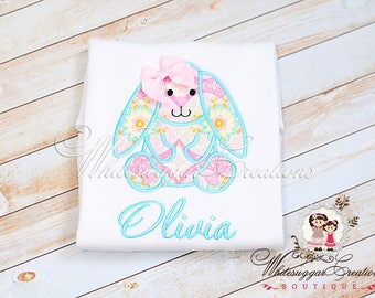 Girls Easter Bunny Shirt - Custom Easter Girls Shirt - Vintage Bunny Shirt - Aqua and Pink Easter Shirt - Baby Girl Easter Outfit