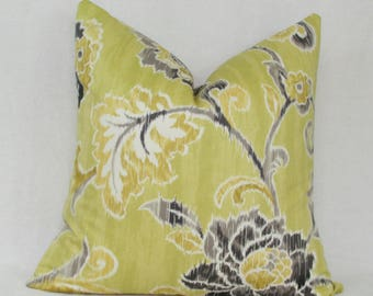 "Green gray floral decorative throw pillow cover. 18"" x 18"" toss pillow."