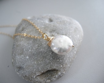 Keshi pearl 14k gold necklace - Gold Filled necklace - Keishi pearl Wire Wrap Pendant - July Birthstone Necklace - 14K Gold pearl Jewelry
