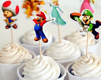 Mario Brothers Cupcake Double-Sided Toppers/Food Picks Party Decorating Favor Set of 24,Perfect For Any Kids Party