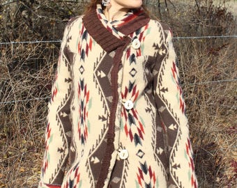 Spirit of the Peoples boiled wool Jacket with elk antler buttons sz S/M sewn with genuine pendleton wool baby blanket fabric So incredible