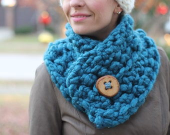 Outlander Inspired Cowl Scarf with a Large Wooden Button in Teal/Dark Aqua, Scarf, Neck Warmer, Crochet Collar, Ready to Ship