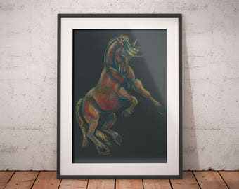 Horse wall art large, Wild horse wall art, Black horse wall art, Horse wall art decor, Horse lover, Horse gift for her, Horse art, farmhouse