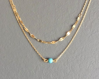 WAS 26.00, layered TURQUOISE gemstone gold necklace, simple, small, dainty, delicate, simple, pretty, blue, stone bead