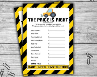 Construction - Baby Shower - The Price Is Right - Game - Cards - PRINTABLE - INSTANT DOWNLOAD - Baby Under Construction - 053