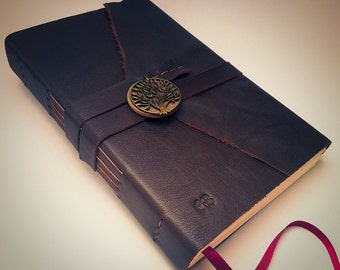 AUTHENTIC LEATHER JOURNAL Dark Brown Tree of Life Bronze Personalized Rustic Leather Sketchbook Notebook Wedding Guest Book Travel Journal