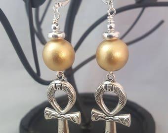 Beautiful Ankh Symbol Dangle Earrings.