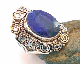 Sapphire Sterling Silver Ring Size 9 earthegy #2962