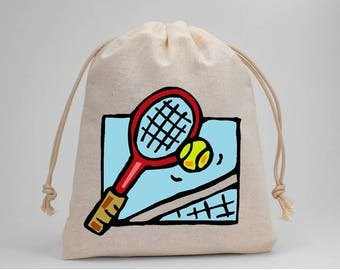 Tennis, Tennis Racket, Birthday Party, Party Bags, Muslin Bags, Candy Bags, Treat Bags, Favor Bags, Drawstring Bags, Goodie Bags, Set of 5