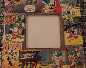 Decoupage Square Picture Frame *Inspired* by Nickelodeon's The Ren & Stimpy Show