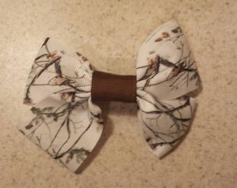 White Camo Handmade Ribbon Hair Bow