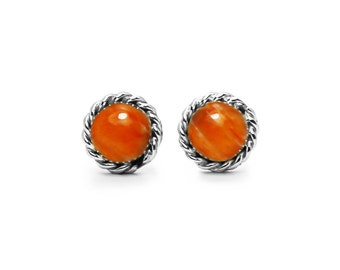 Round Orange Spiny Oyster Post Earrings