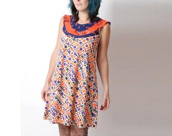 Orange and blue dress, Flared floral dress, Floral patterned supple dress, Orange and blue tent dress FR38 / UK 10., MALAM