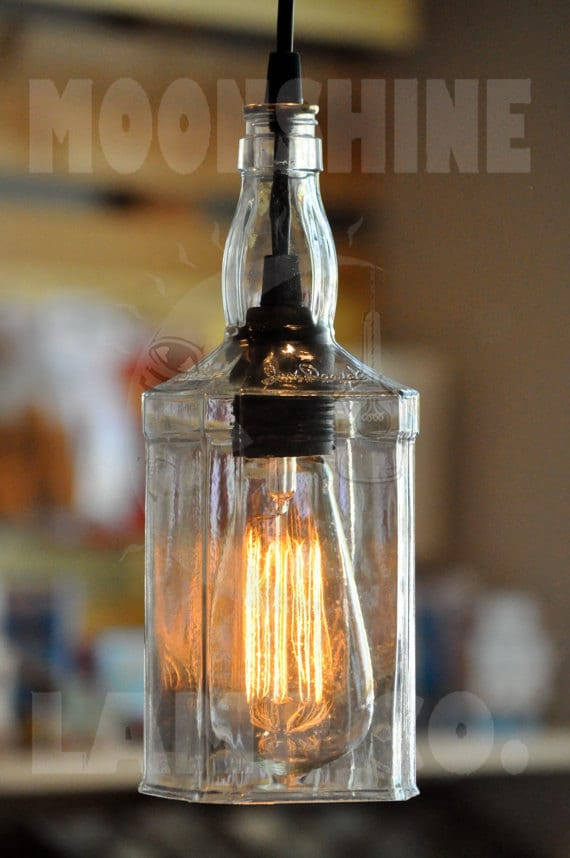 Recycled Whiskey Hanging Pendant Bottle Light Lamp