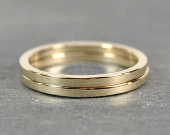 Solid Gold Stacking Rings, 14K Yellow Gold 1.5 by 1.5mm Square Edge Band Set, Sea Babe Jewelry