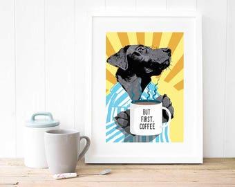 Coffee shop art gift for men Black Labrador Retriever retro pop art Husband gift Coffee bar kitchen wall decor print Coffee lovers gift