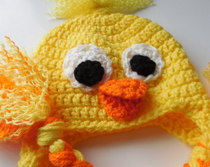 Duck Adult Hat - Crochet Duck Hat - Duck Animal Hat - Handmade Crochet - Made to Order