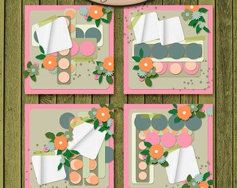 Digital Scrapbooking, Layout Template: Seeing Spots