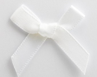 Satin Ribbon Pre Tied 3cm Bows - 100 Pack -  50 Pack - 10 Pack- White