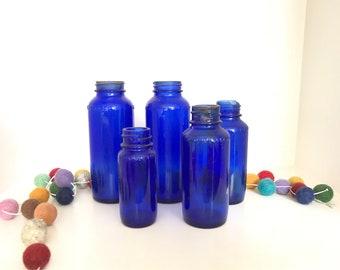 Vintage Cobalt Blue Apothecary Glass Bottles