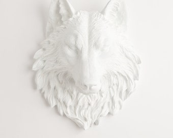 White Faux Wolf Head The Lincoln -- Resin Wolf Mount by White Faux Taxidermy - Chic & Trendy Faux Animal Heads