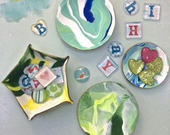 DIY Craft Kit: Marbled Clay Dish