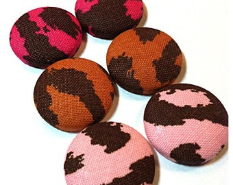 Clearance - Mixed Brown Design Button Earrings