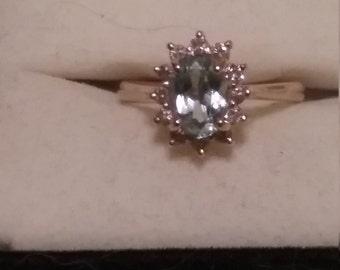 Gorgeous 14kt Aquamarine and Diamond Ring