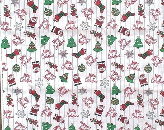 """Christmas Fabric Material Santa Candy Canes Red White Green 63"""""""