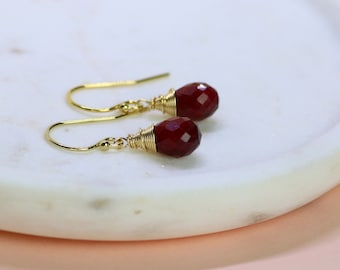 Ruby earrings, July birthstone jewelry, dangle earrings, ruby jewelry, July birthday gift - Sophie