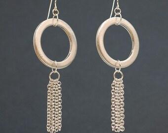 Geometric Circle Earrings- Chain Earrings, Upcycled Silver Washer Earrings, Hardware Jewelry, Modern Minimal Jewelry