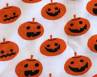 Halloween Jack-O-Lantern Fabric - White Background - Orange Pumpkins - Fabric By The Yard - BHY